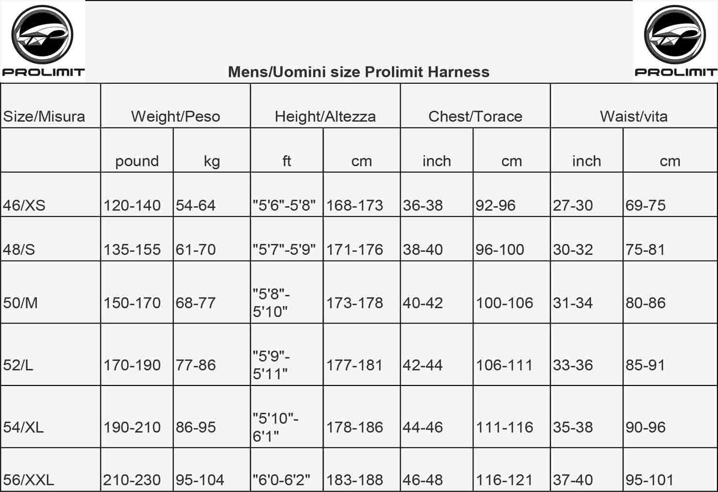 prolimit-size-misure-harness-trapezio-uomo-2015-taglia-xs-s-m-l-xl-fascia-seduto-freestyle-seat-freeride-wave-specials-offerts