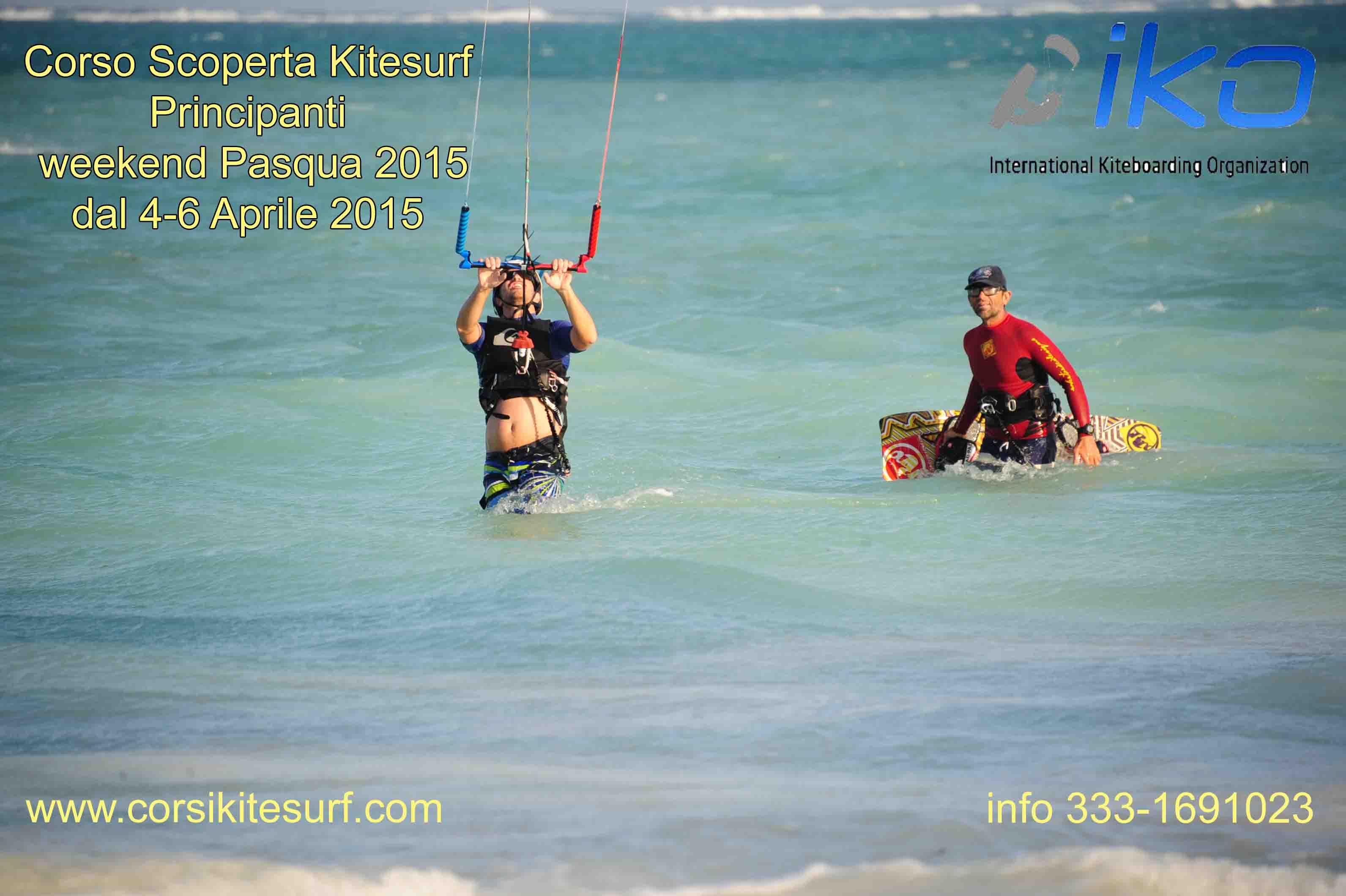 """Corso Introduttivo """"Scoperta del Kitesurf """"  Pasqua 2015 dal 4 al 6 Aprile 2015"""