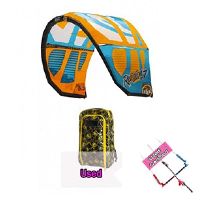 kitesurf-kite-rrd-religion-mkiv-orange-cyan-7mt-usato-garantito-2014-con-barra-completo
