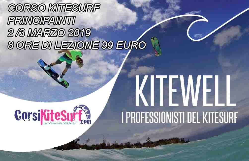 Marzo 2019 I° corso Principianti Toscana scoperta del kitesurf  Sabato 2 e domenica 3 Marzo