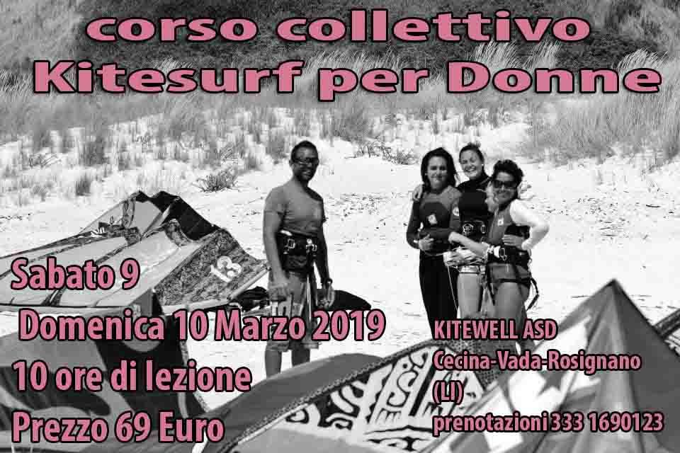 Kitesurf Corso  Livorno 2019 Weekend del 9 e 10 Marzo 2019 Sconto Esclusivo per le Donne