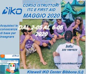 Corso Istruttori Kitesurf IKO  I.T.C. e First Aid dal  1  al 6  Maggio 2020
